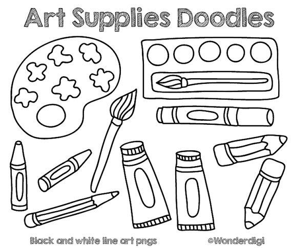 570x485 Art Supplies Clip Art Doodles