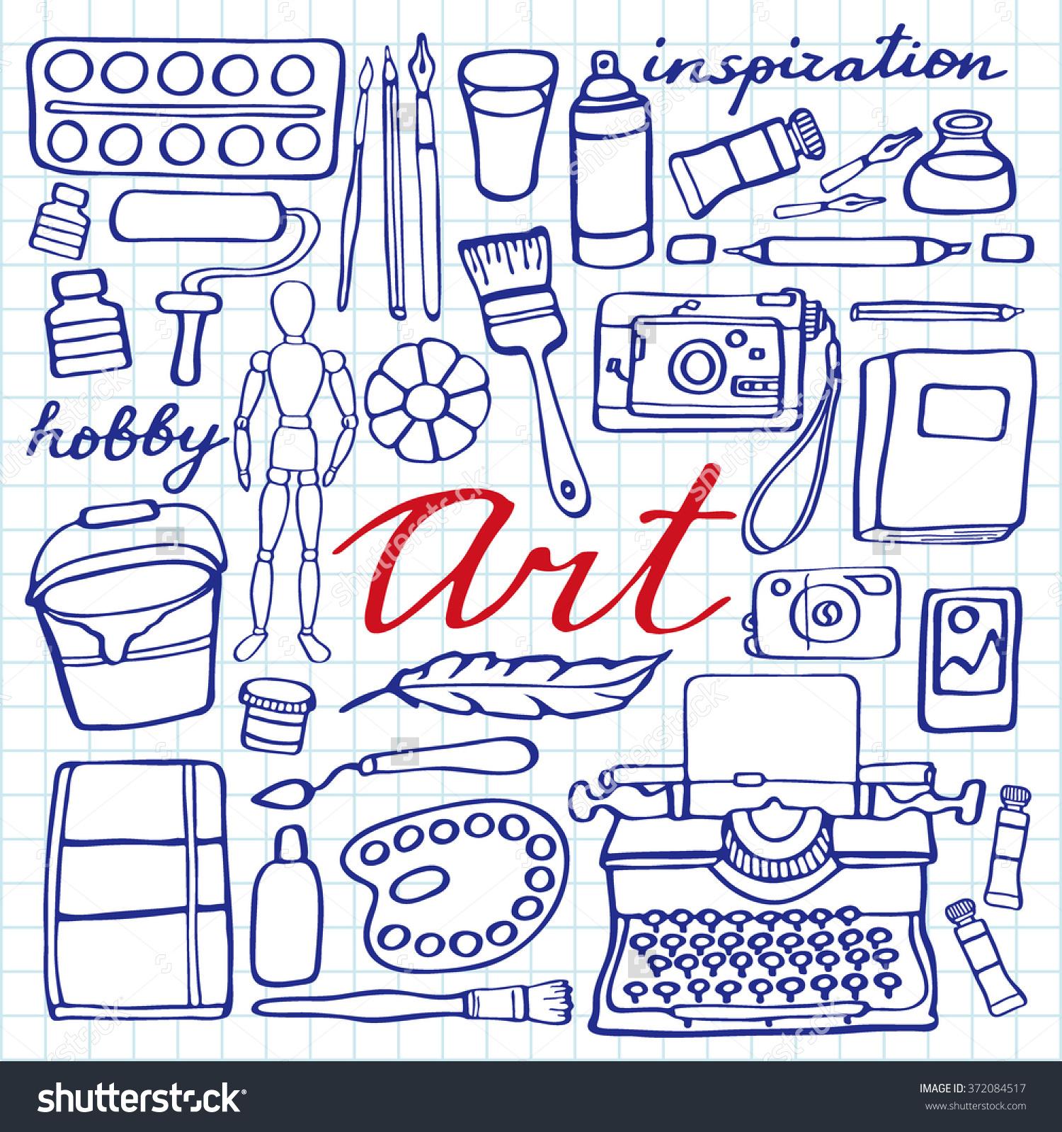 1500x1599 Art Supplies For Drawing Art Supplies Set Handdrawn Cartoon