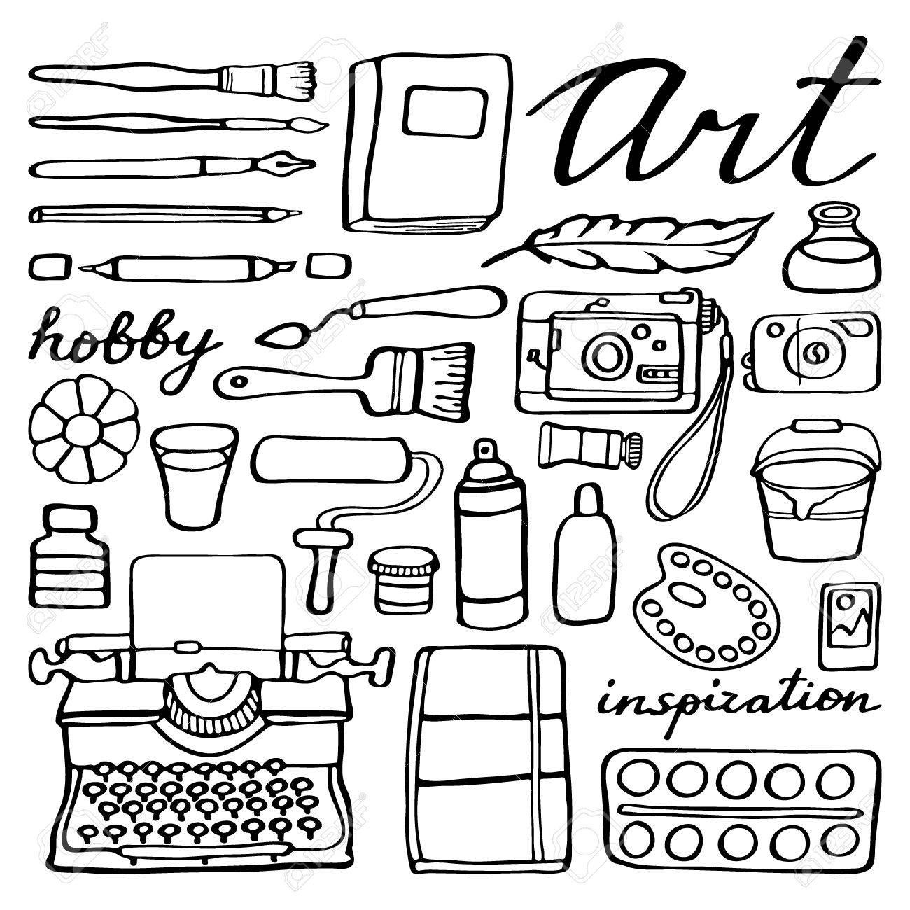 1300x1300 Art Supplies Set. Hand Drawn Cartoon Collection Of Art Tools