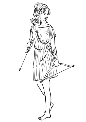 339x480 Artemis Or Diana Coloring Page Free Printable Coloring Pages