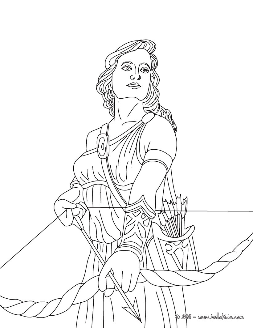 821x1061 Artemis The Greek Goddess Of Hunting Coloring Pages