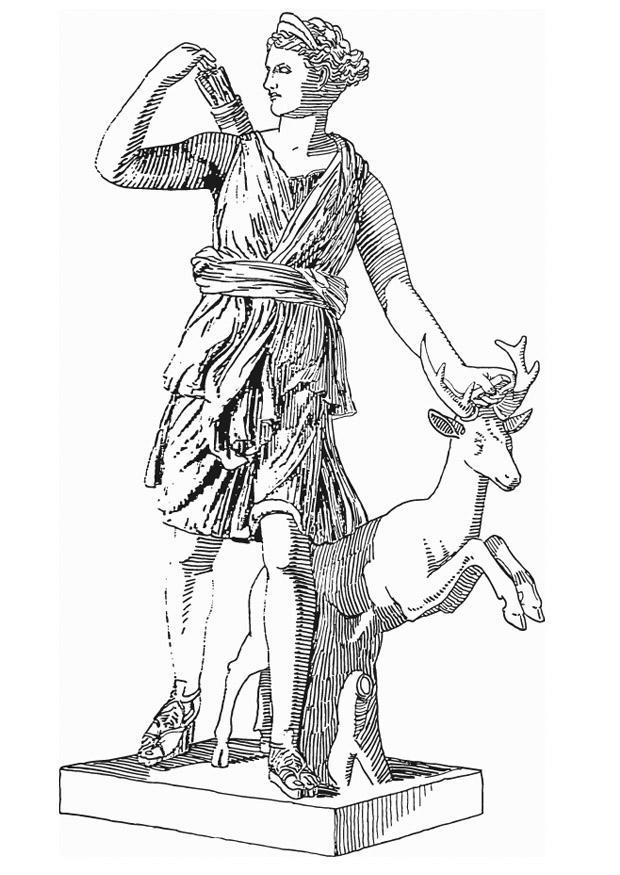 620x875 Coloring Page Artemis, Godess Of Greek Mythology