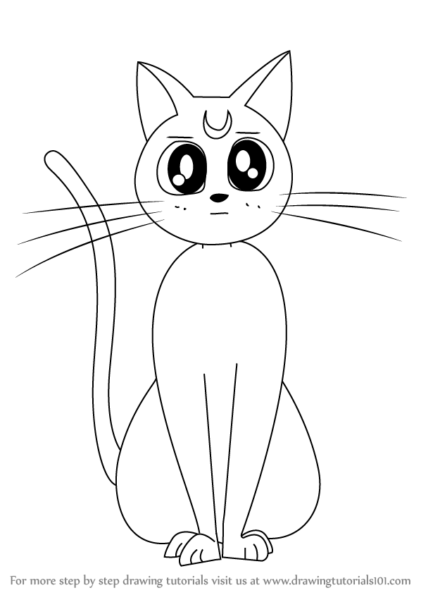 598x844 Learn How To Draw Artemis From Sailor Moon (Sailor Moon) Step By