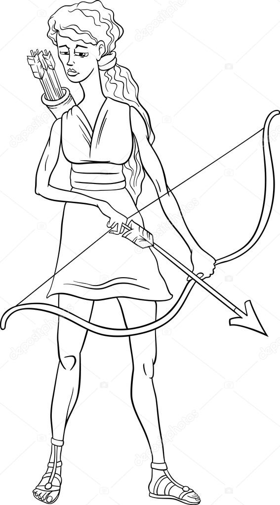 567x1024 Greek Goddess Artemis Coloring Page Stock Vector Izakowski