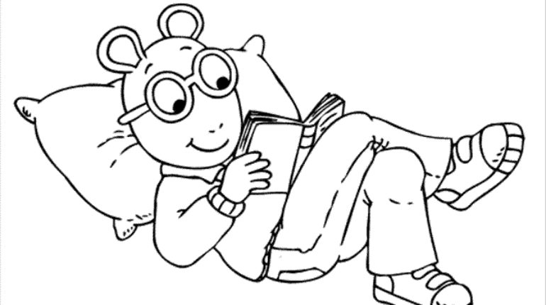 770x430 Reading Coloring Page Coloring Pages Arthur Reading Cartoons