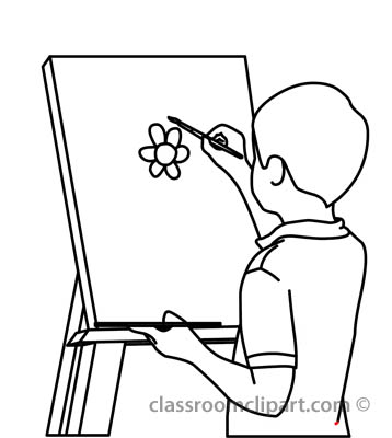 358x400 Painting Clipart Black And White