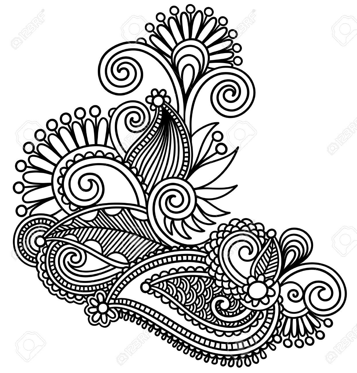 1244x1300 17416101 Original Hand Draw Line Art Ornate Flower Design