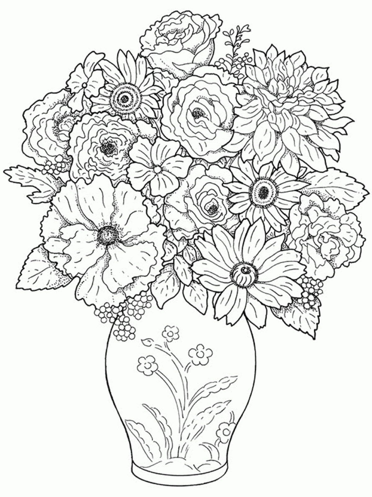 1200x1600 Beautiful Flowers And The Pot To Draw Arts