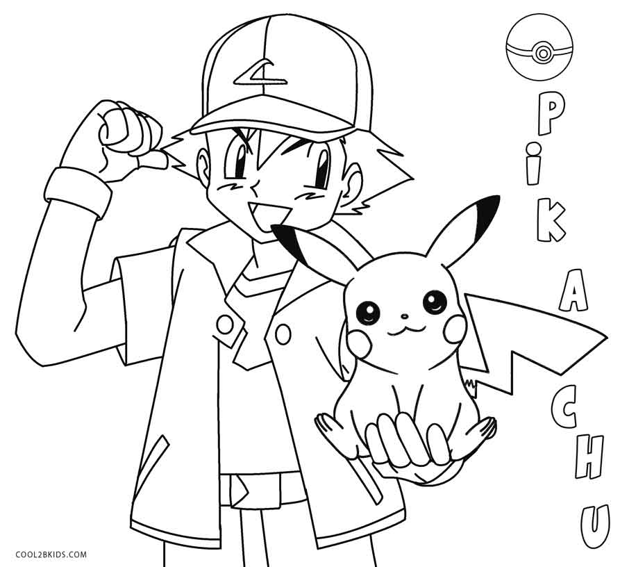 893x816 pokemon coloring pages pikachu and ash printable to snazzy draw