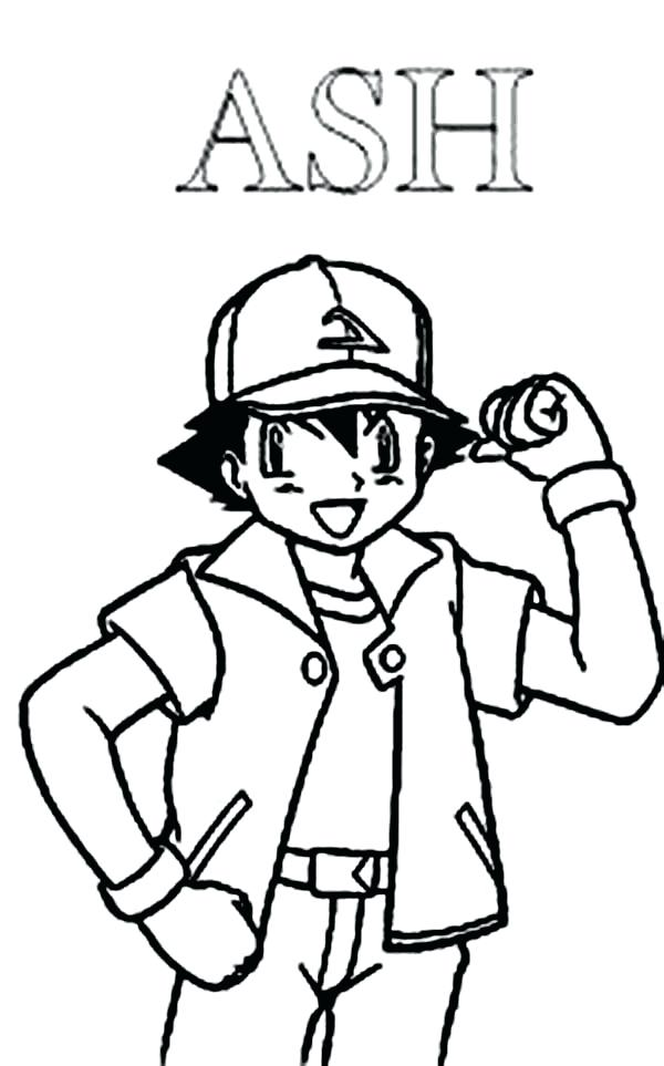 600x963 Ash Ketchum Coloring Page Ash Winning Pose On Coloring Page Ash