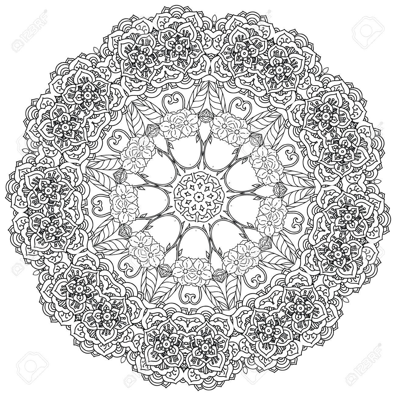 1300x1300 Contoured Asian Style Flowers In Mandala Shape. Zen Style Picture