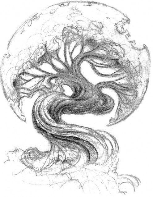 495x634 Asian tree tattoo Asian Oak Tree Tattoo Sketch Tattoo Ideas