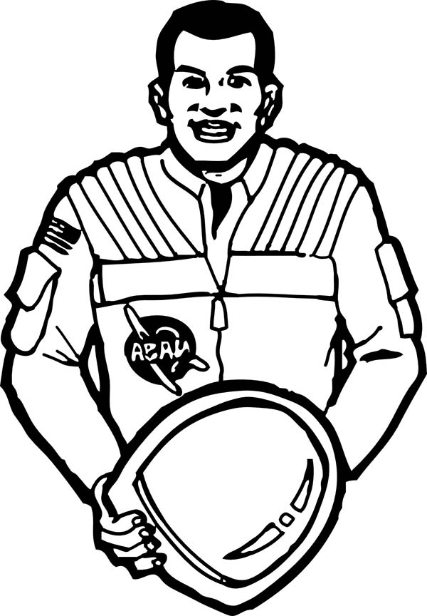 600x864 An Astronaut Put His Space Helmet Off Coloring Page