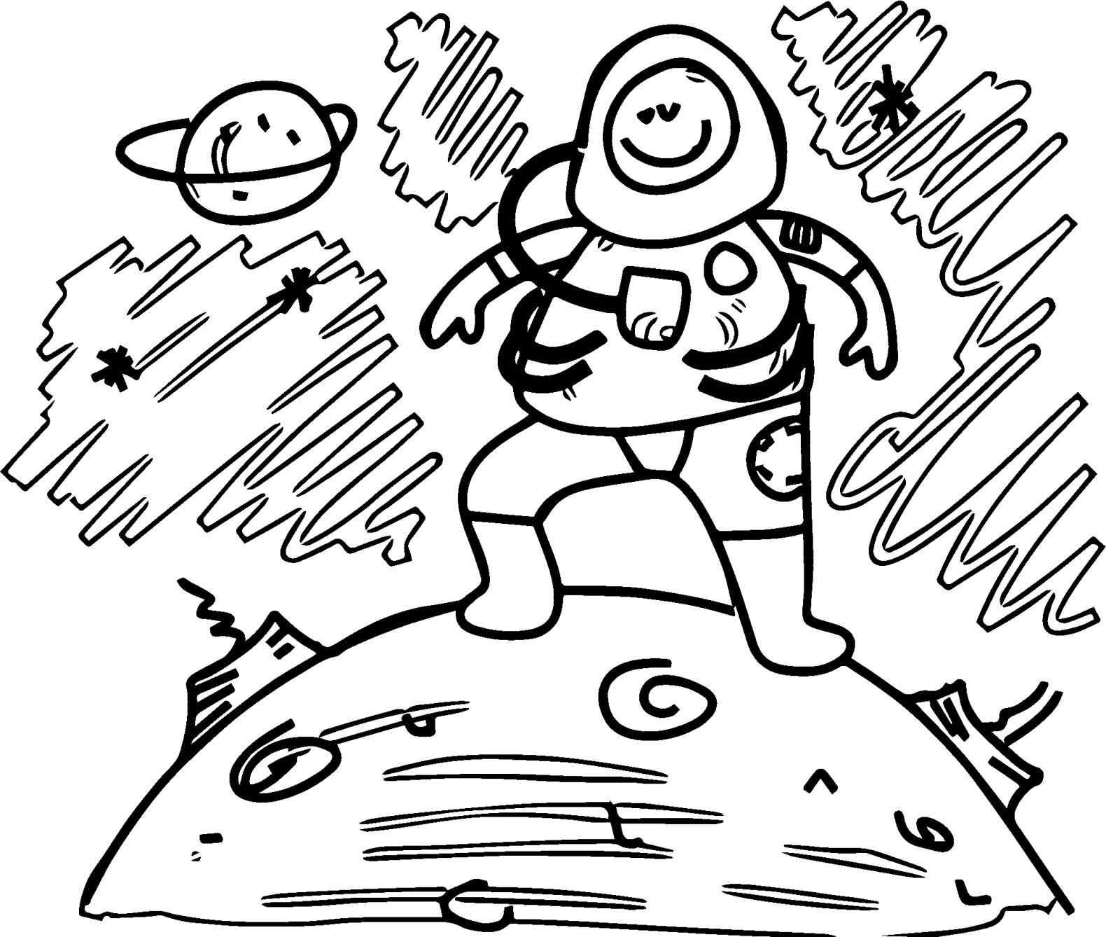 1580x1338 Astronaut On The Moon Coloring Pages With Us Flag For Kids New