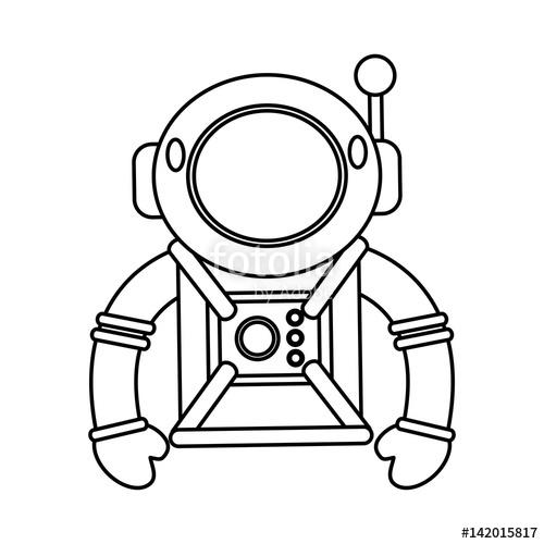 500x500 Astronaut Suit Helmet Space Outline Vector Illustration Eps 10
