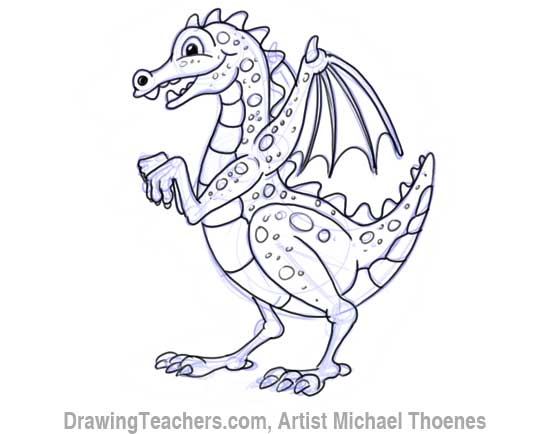 550x434 How To Draw A Dragon For Kids