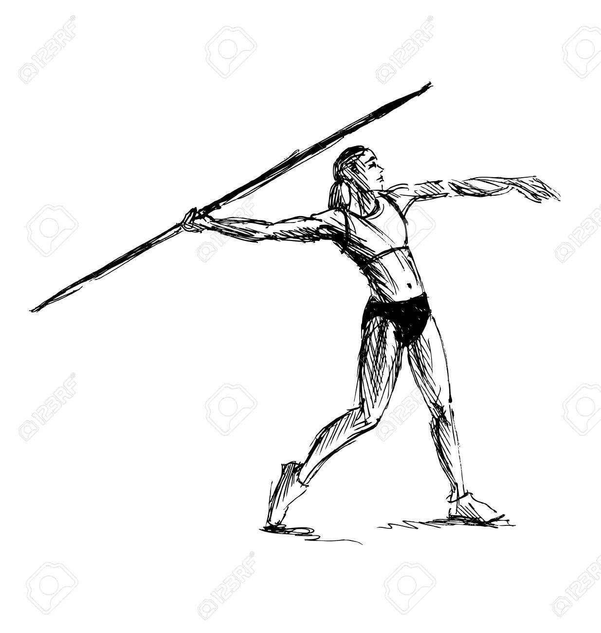 1235x1300 Hand Sketch Athlete Throwing A Javelin Illustration Royalty Free