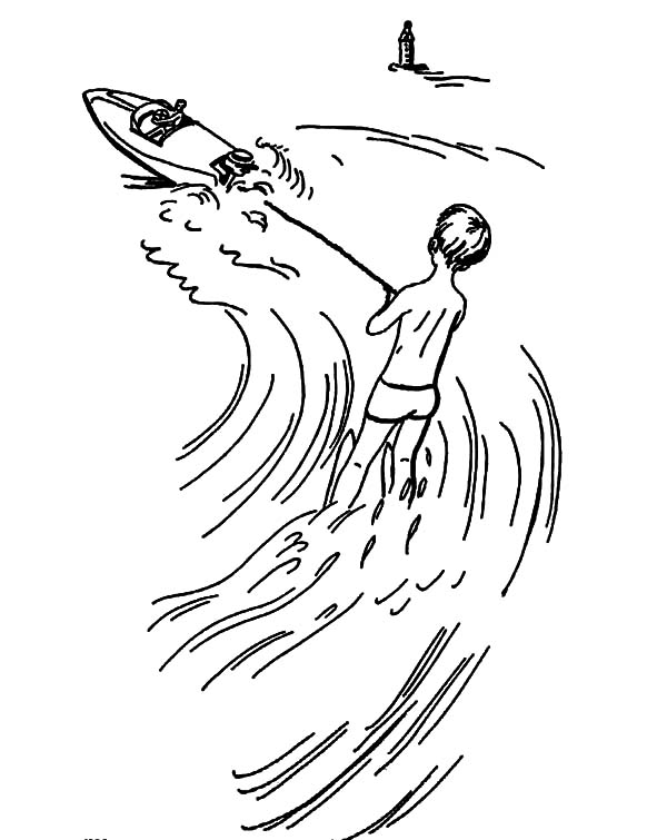 600x755 Water Skiing Athlete Pull By A Boat Coloring Pages Batch Coloring