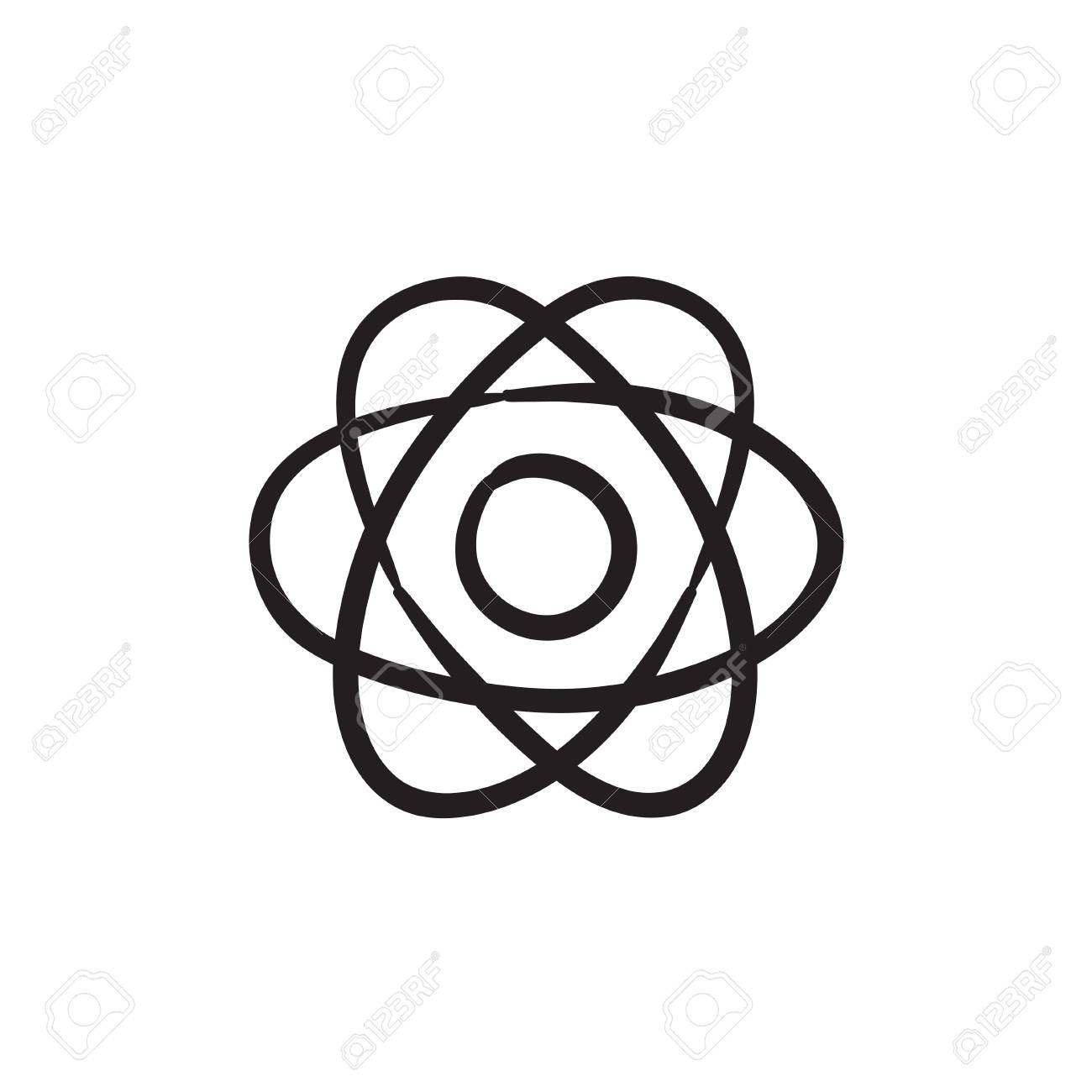 1300x1300 Atom Vector Sketch Icon Isolated On Background. Hand Drawn Atom