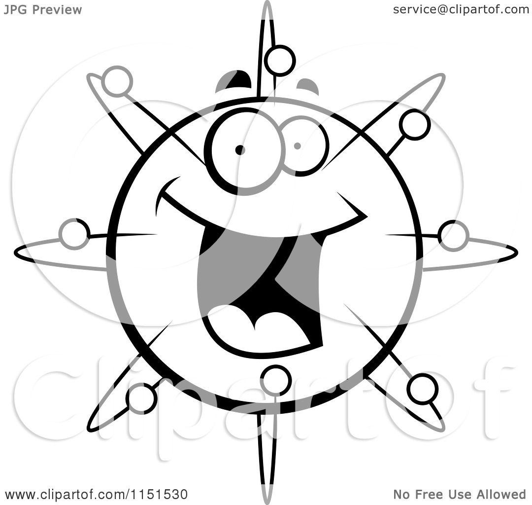 1080x1024 Cartoon Clipart Of A Black And White Happy Smiling Atom Face