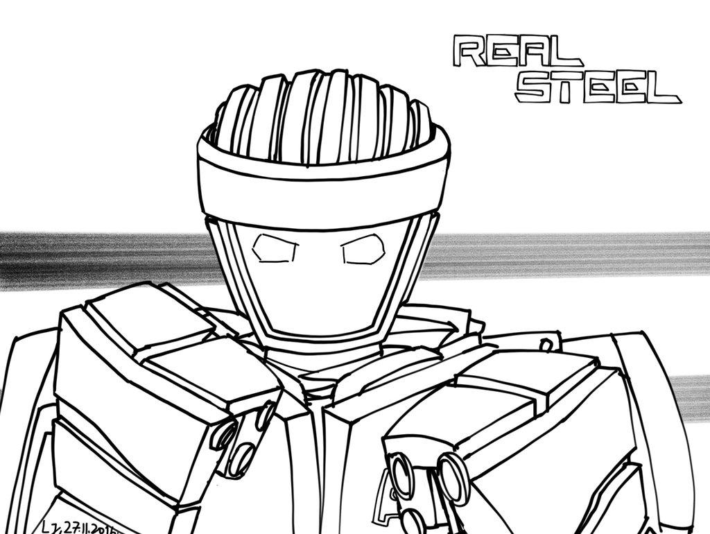 1024x770 Real Steel, Atom (Lineart) By Lj123321