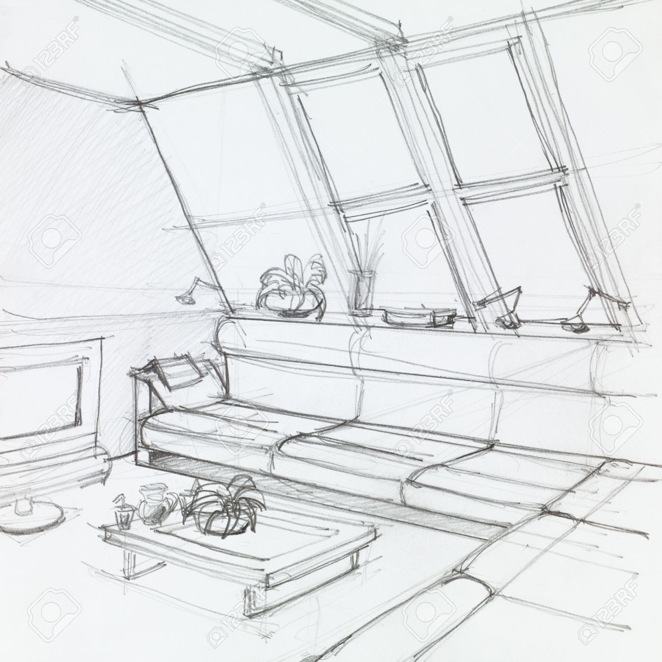 1300x1300 Graphic Sketch Of Attic Living Room, Hand Drawn Stock Photo