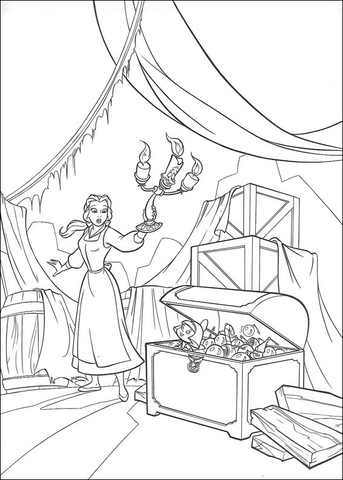 343x480 Princess Belle In The Attic Coloring Page Free Printable