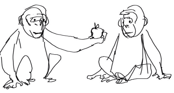 717x386 Morality (1) This Simple Sketch Of A Monkey Giving Another Monkey