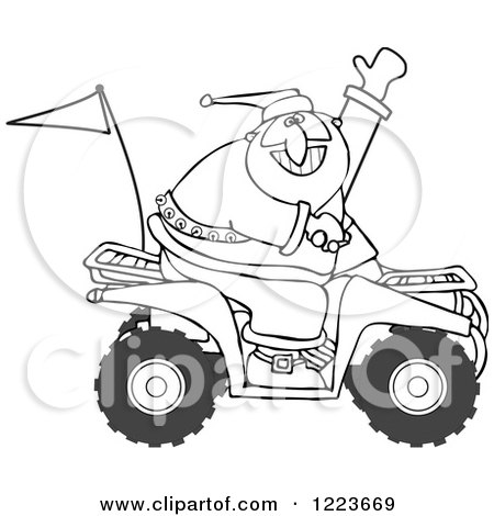 450x470 Clipart Of An Outlined Santa Waving And Driving An Atv Mud Bug