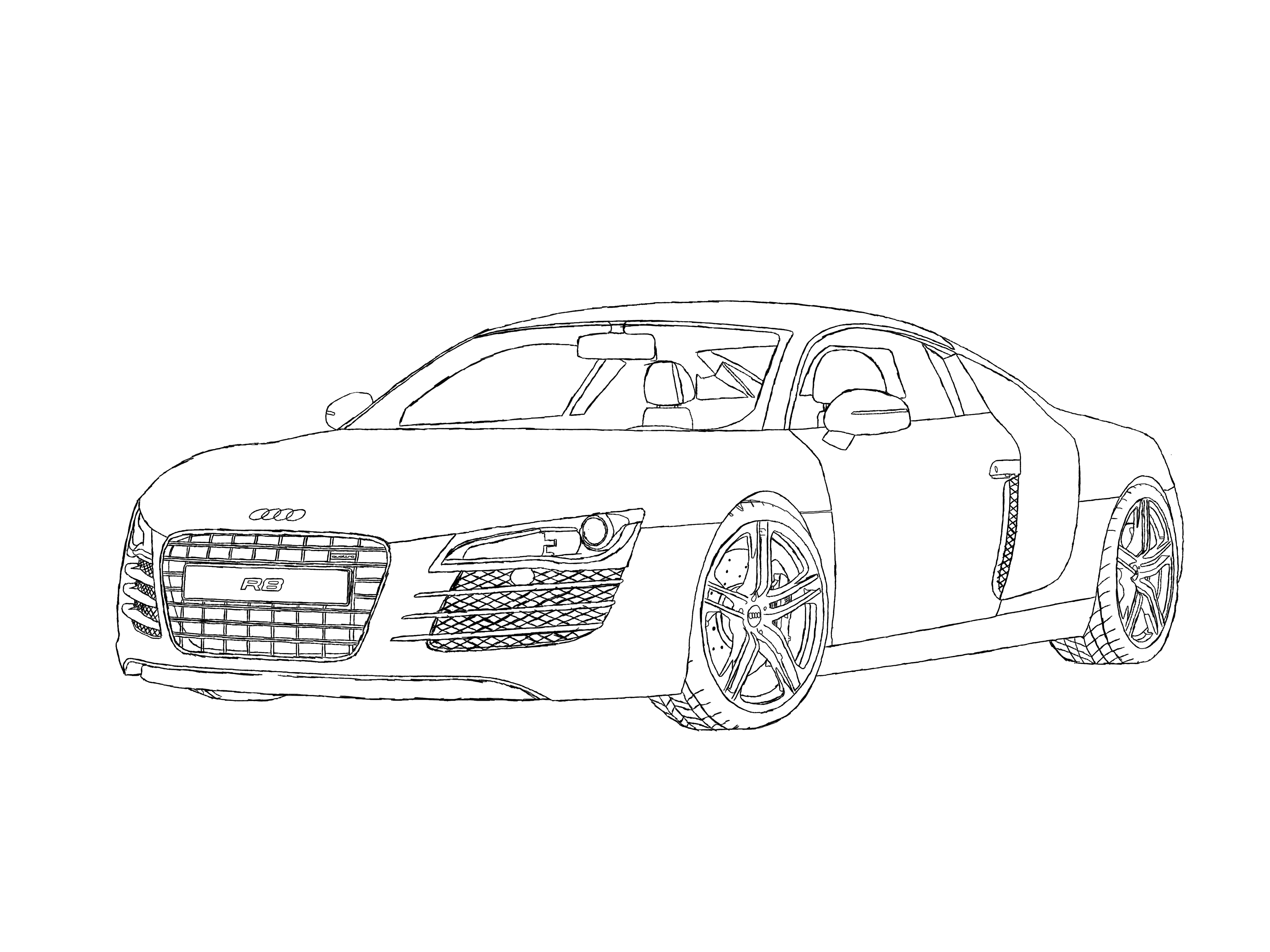 4000x3000 Audi R8 Line Art By Axial97