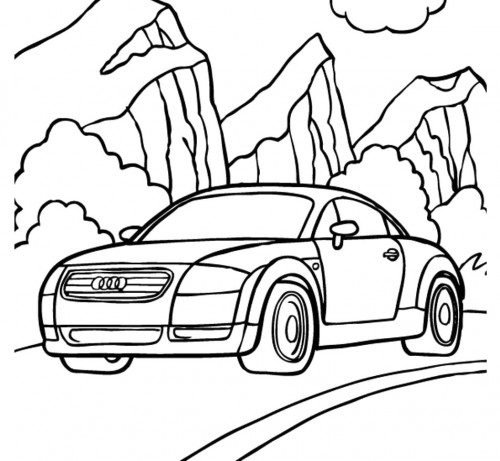 500x461 Audi Racing Car Was Speeding With Excellent Coloring Page
