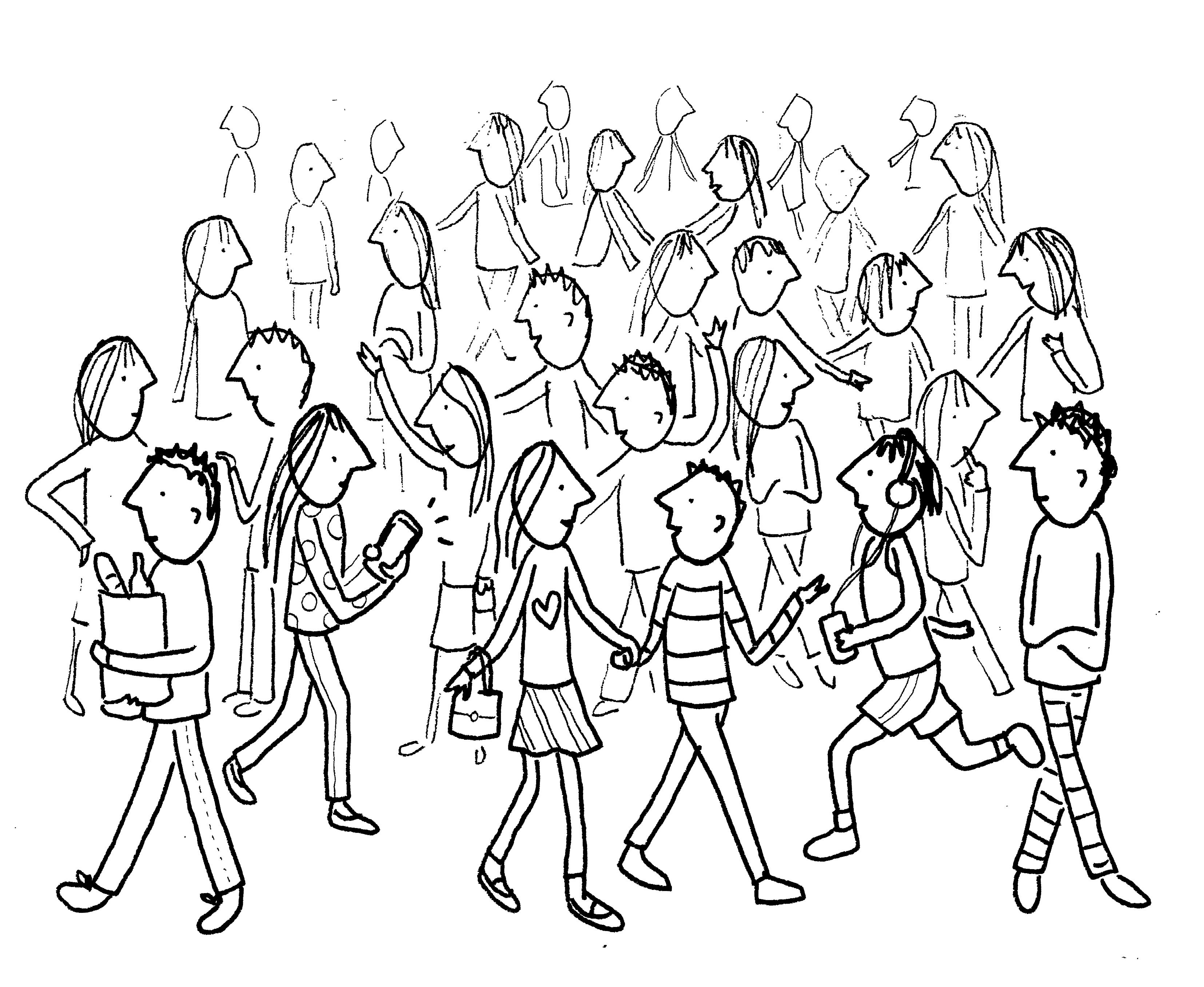 3310x2714 How To Draw A Crowd Of People In 3 Steps Crowd, Drawings