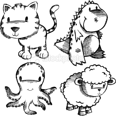379x380 Doodle Sketch Animal Set Animal Doodles, Photo Illustration
