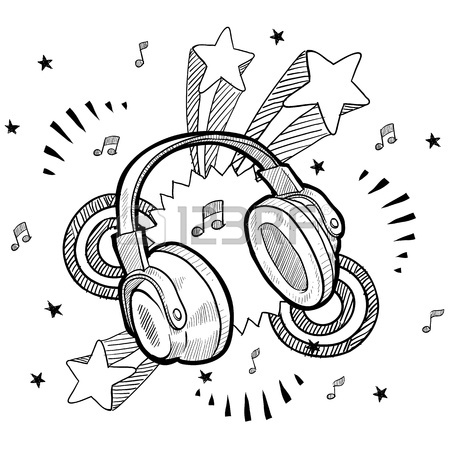 450x450 Doodle Style Audio Headphones Illustration With Retro 1970s Pop