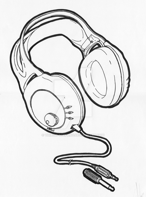 600x807 Headphones Drawing + Final Art By Thiago Stefano