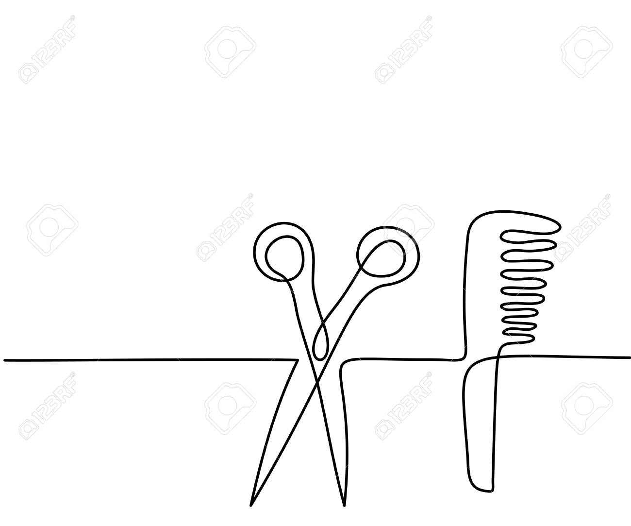 1300x1083 Scissors And Comb Business Icon. Continuous Thin Line Drawing
