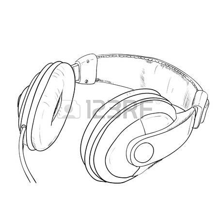450x450 Vector Sketch Of Headphones. Hand Draw Illustration. Royalty Free