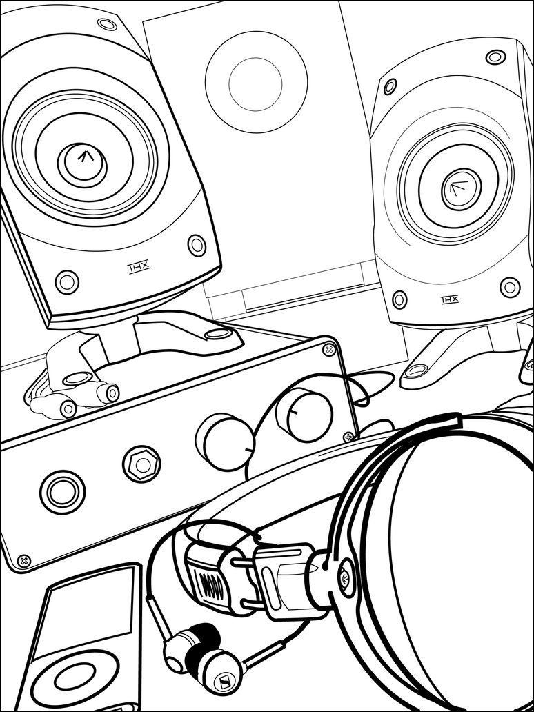 774x1032 Audio Gear Line Drawing By Justmardesign