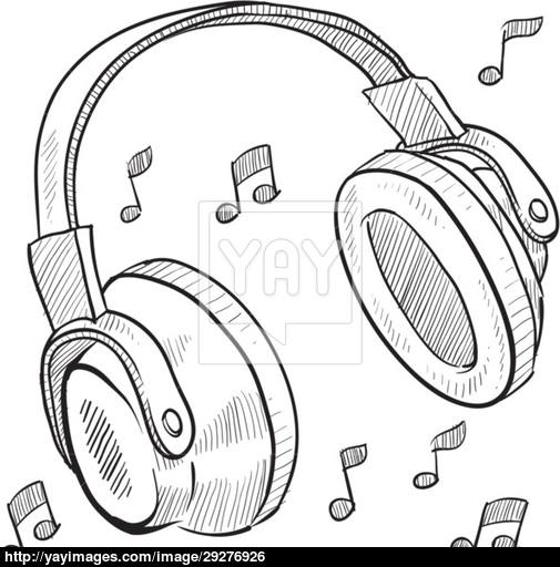 505x512 Audio Headphones Sketch Vector