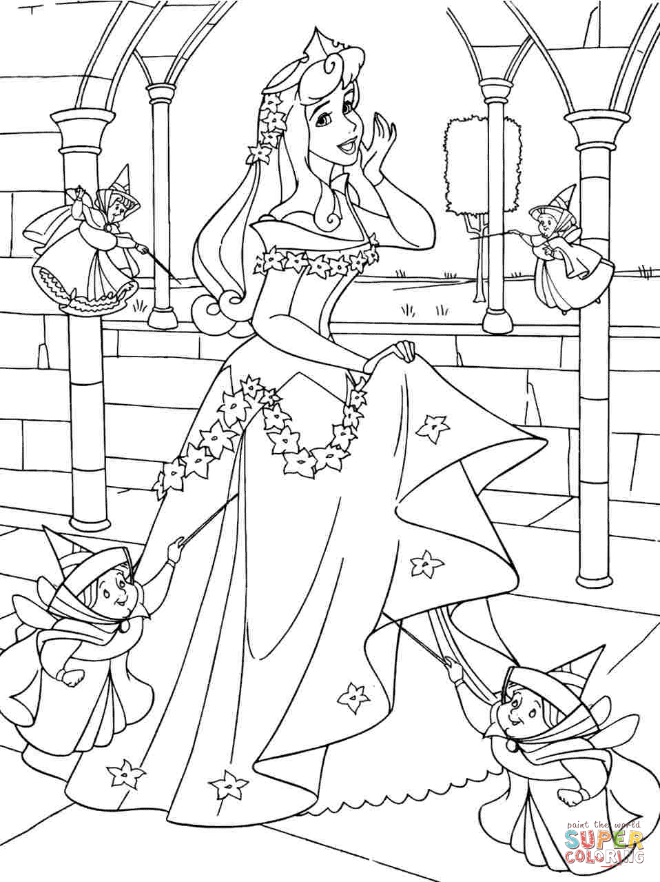 958x1279 Disney Sleeping Beauty Cartoon Coloring Pages For Amusing Draw