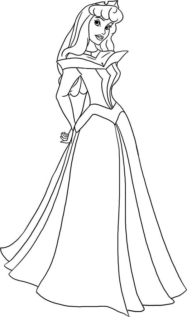 600x1014 How To Draw Princess Aurora In Sleeping Beauty Coloring Page