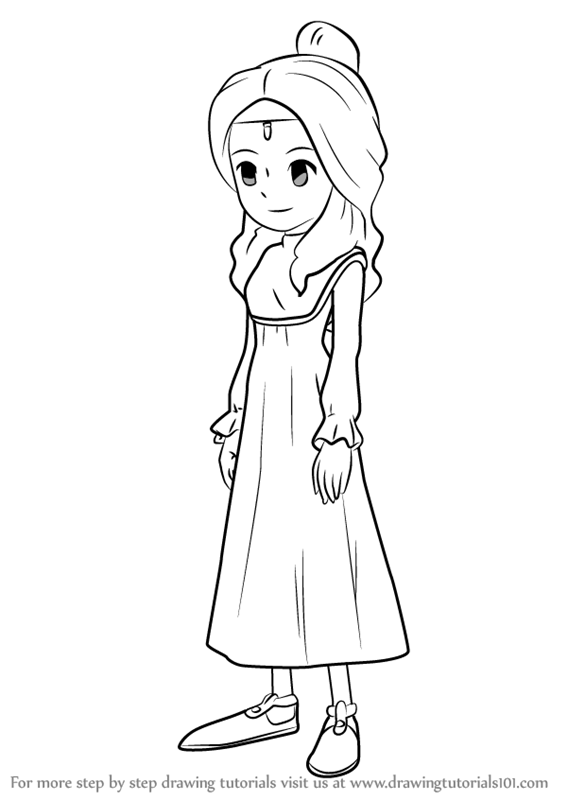 567x800 Step By Step How To Draw Aurora From Professor Layton