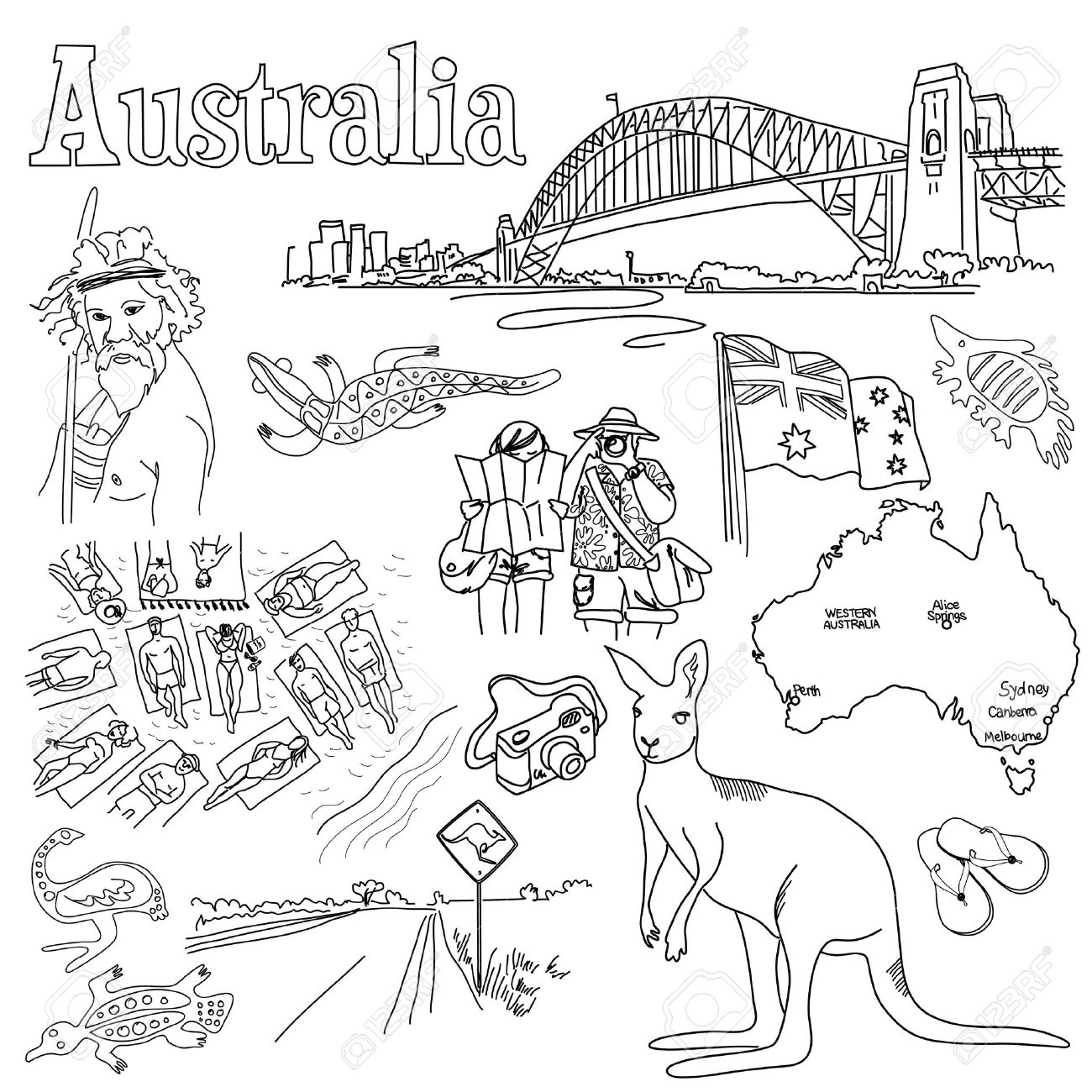 1300x1300 Sightseeing In Australia Royalty Free Cliparts, Vectors, And Stock