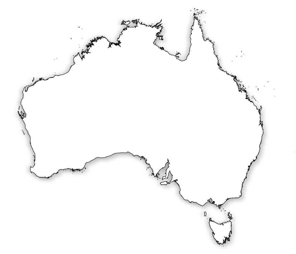 1024x880 Blank Map Of Australia, Outline Map Of Australia