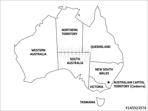 500x375 simplified map of australia divided into states and territories
