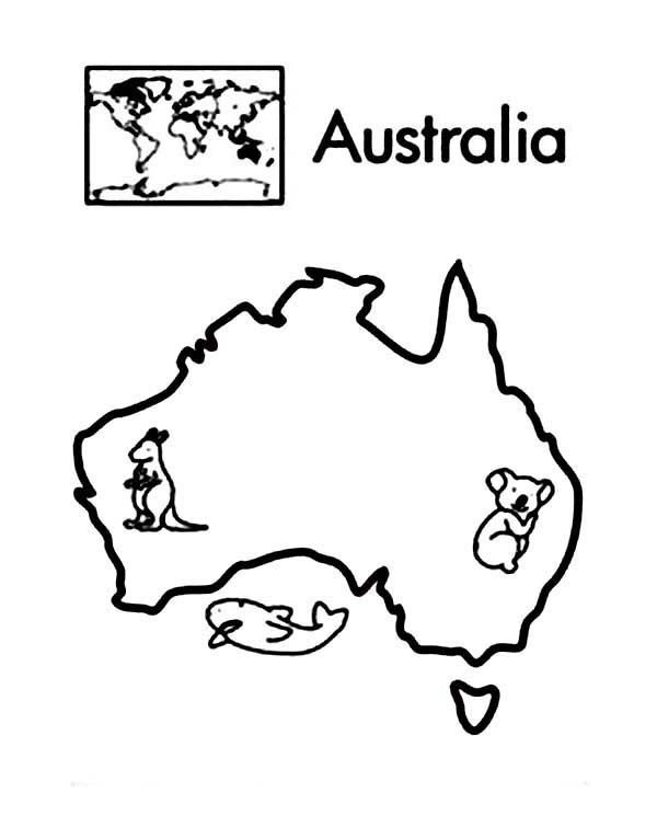 600x755 Australia Continent In World Map Coloring Page Passports