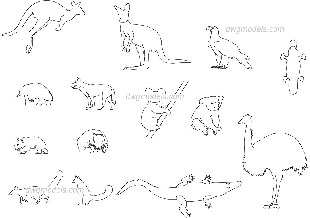 1080x760 Australian Animals Cad Blocks Free Download, Autocad Drawings