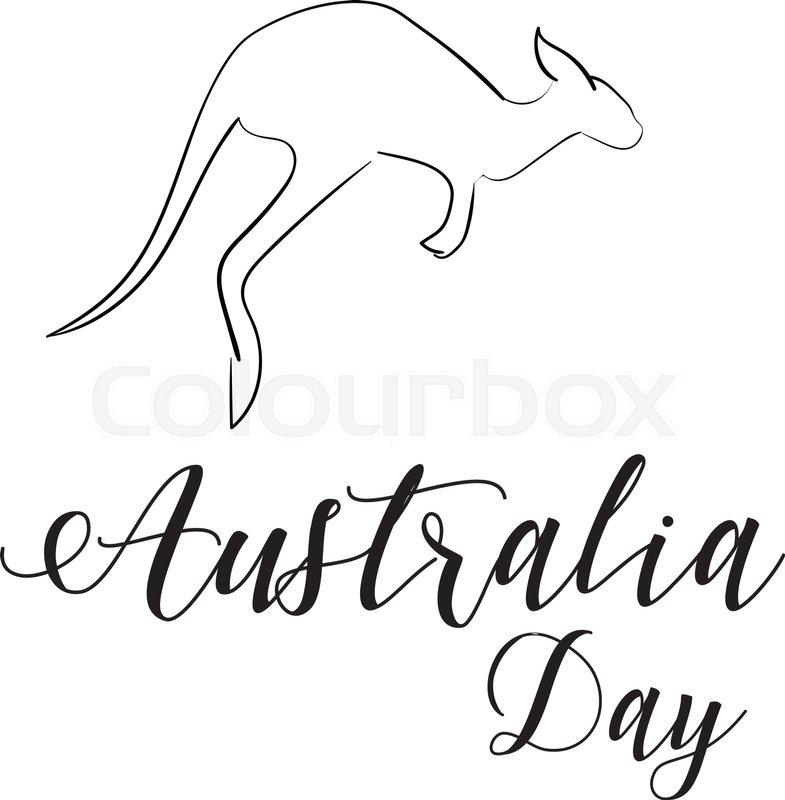 785x800 Australia Day Lettering. Kangaroo Jumps Isolated. Hand Drawn Shape