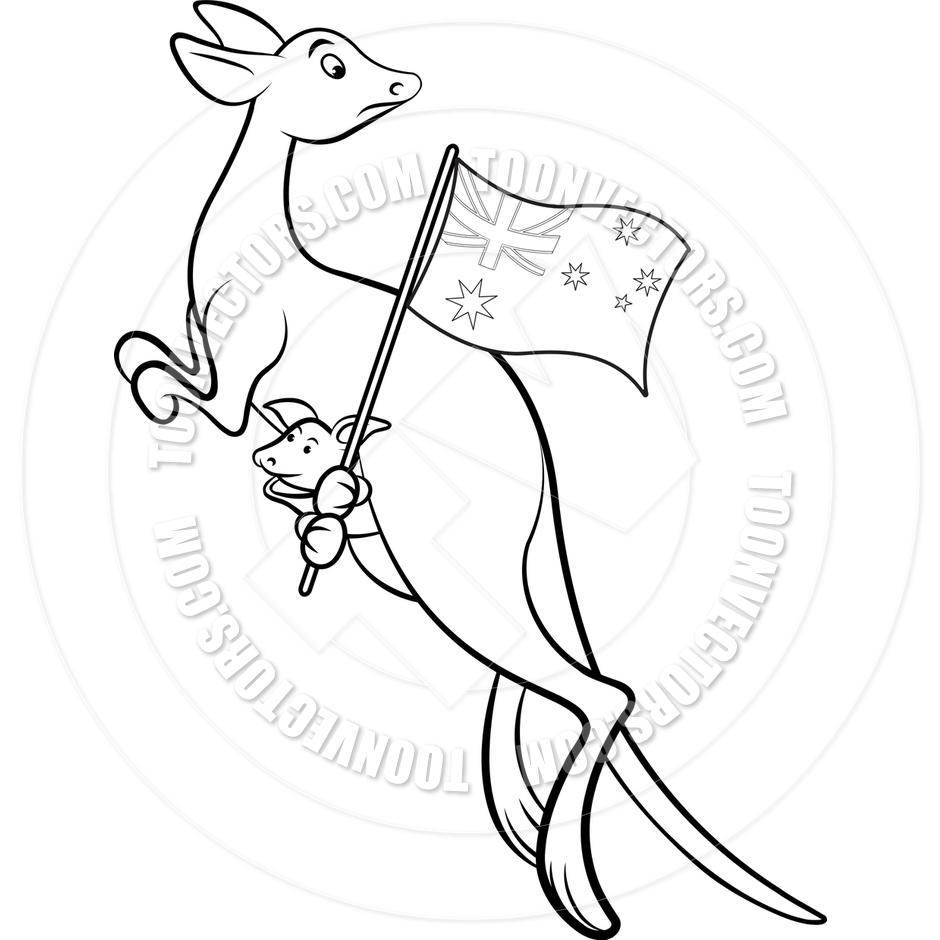940x940 Cartoon Kangaroo With Australian Flag By Lal Perera Toon Vectors