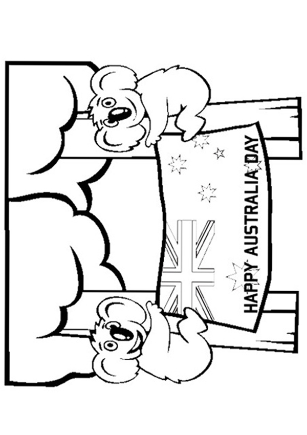 600x850 Free Online Australia Day Colouring Page